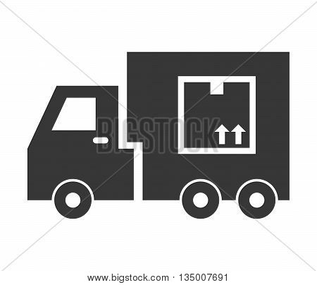 Delivery and Shipping concept represented by silhouette of truck icon over flat and isolated background
