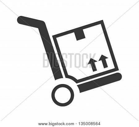 Delivery and Shipping concept represented by silhouette of package icon over flat and isolated background