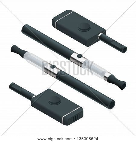 Electronic Cigarette on white background. e-cigarettes 3d flat vector isometric set