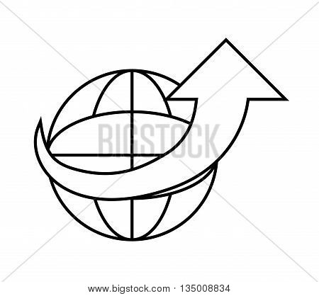 Delivery and Shipping concept represented by silhouette of global and arrow icon over flat and isolated background