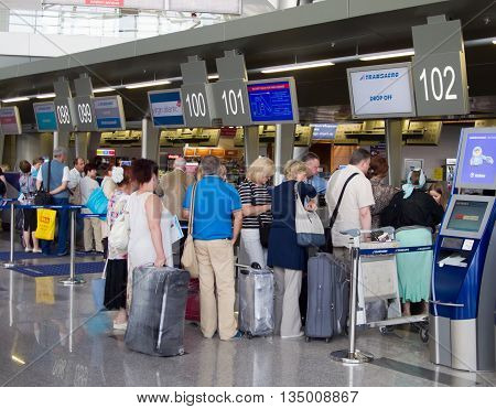 Moscow, Russia - May 18 2013, The queue of people in the booking office Vnukovo Airport