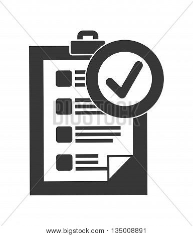 Delivery and Shipping concept represented by silhouette of check list icon over flat and isolated background