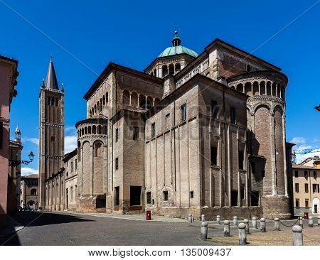 Parma Cathedral built in Italian Romanesque style consecrated by the Pope Paschal II in 1106.