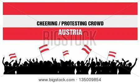 Austria silhouettes of cheering or protesting crowd of people with Austrian flags and banners.