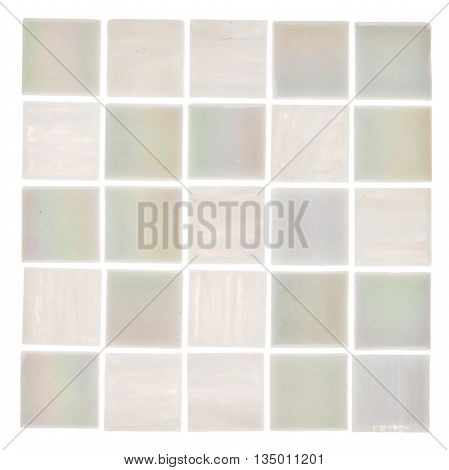 beautiful satin square glass light white and translucent pearl mosaic with light blurred stripes on a white background isolated