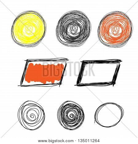 Hand drawn Scribble circle oval rectangle border elements in trendy grunge style. Colorful pencil doodles set of shapes frames isolated on white background. Vector illustration.