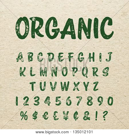 Organic alphabet with imprint effect. Retro grunge marker for organic packaging design. Stamp lettering.