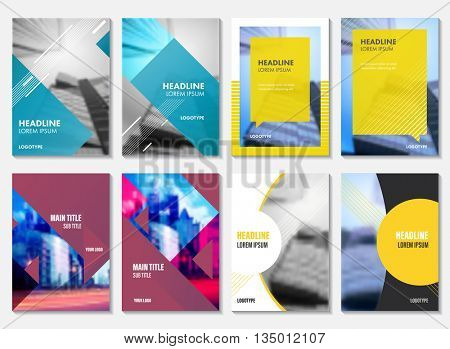 Annual report set for business brochure. Annual report design template, flyer vector, leaflet cover layout. Abstract presentation abstract background.