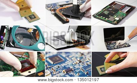 Set collage of computer (laptop) hardware and components photos