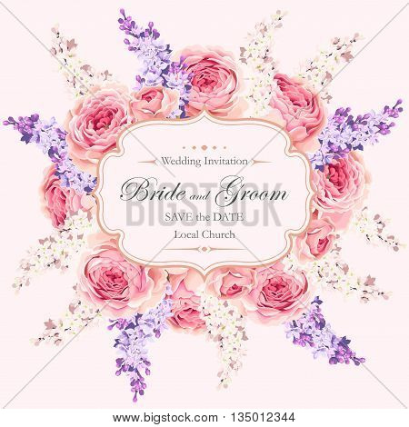 Vector vintage wedding invitation with beautiful english roses and lilac