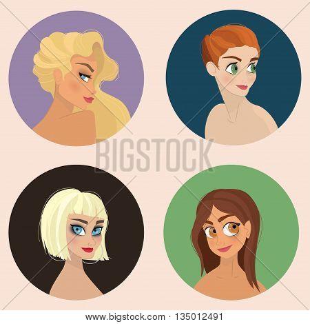 Character Design - Girls Illustration Set - vector eps10