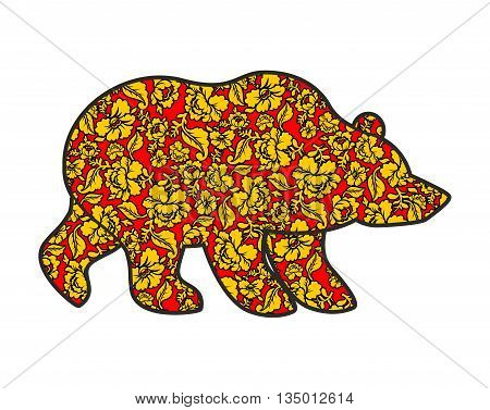 Russian Bear Hohloma Style. National Folk Painting Of Flowers. Wild Animal Of Forest Symbol Of Russi