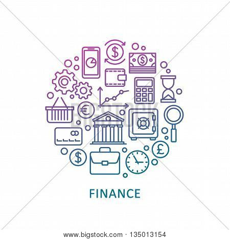 Finance and banking. Vector line web icon set.