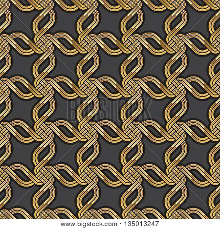 Shiny gold Celtic seamless pattern. Abstract vintage Art Deco style geometric wallpaper. Vector illustration