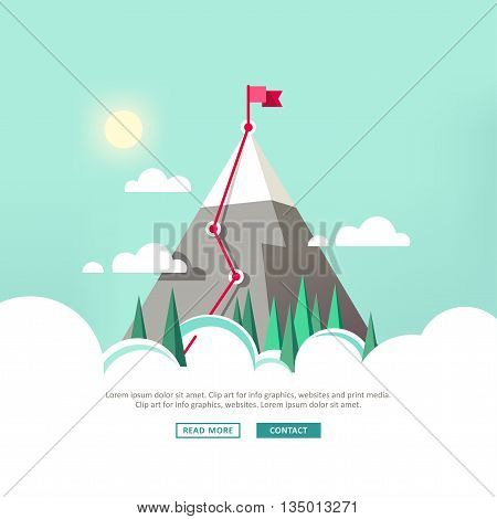 Landscape with flag on the mountain. Mountain in the clouds. Vector illustration.