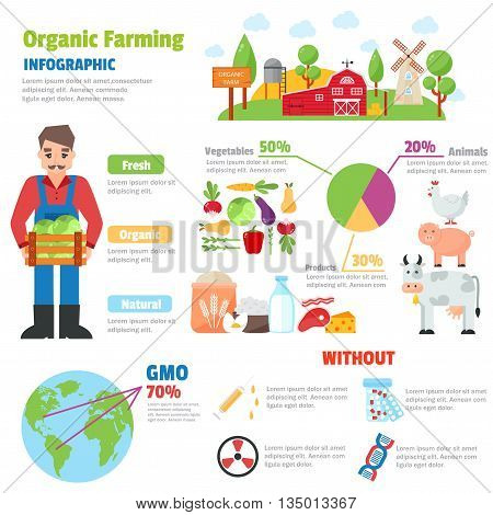 Infographic health care heart organic farm shape template design. Organic farm route to healthy concept vector illustration. Organic farm graphic web gardening design vegetarian agricultural field.