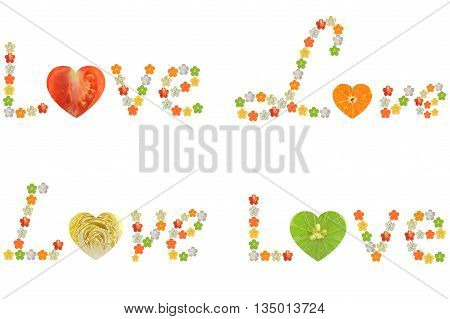 Love word from fruit and vegetable on white background