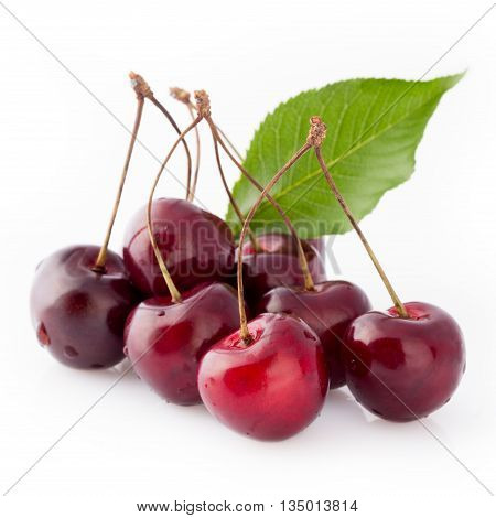 Black cherries with green leaf over white background.