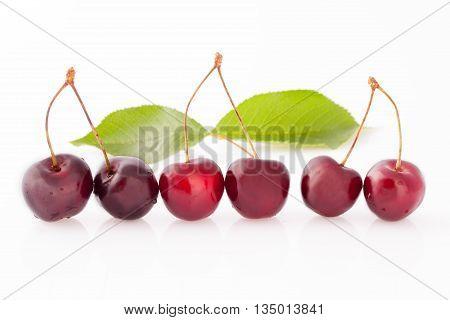 Ripe Cherries In Row