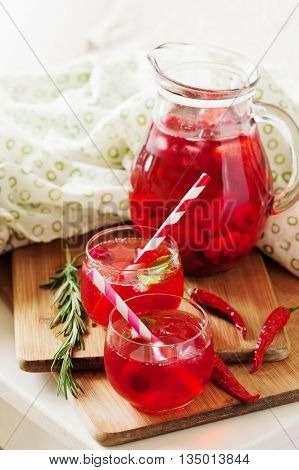 Ice Refreshing Summer Drink With Strawberry And Chili