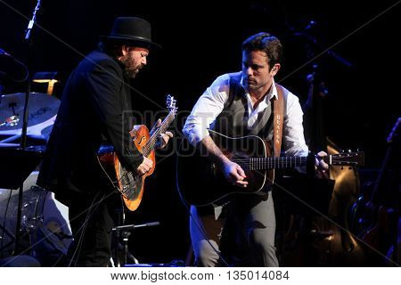 NEW YORK-APR 30: Charles Esten (R) performs onstage during the 'Nashville' Tour at The Beacon Theatre on April 30, 2015 in New York City.