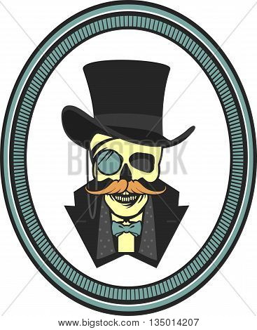 vector illustration of a skull wearing a hat cylinder gentleman vintage emblem framed