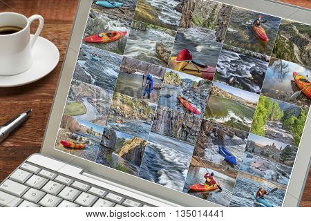 viewing whitewater kayak and packraft  picture collection on a laptop with a cup of coffee- paddling on mountain rivers in Colorado featuring the same male paddler