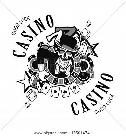 vector emblem azarntny player the spirit of good luck in the background poboedy attributes and good luck in the casino win black and white