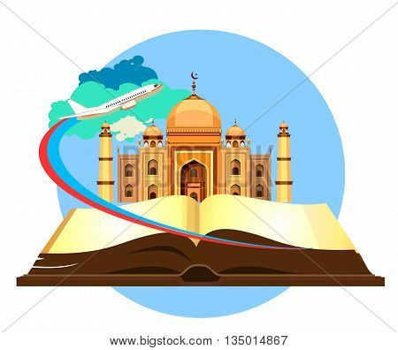 open book historical sites mosque on a white background airplane flying in the sky