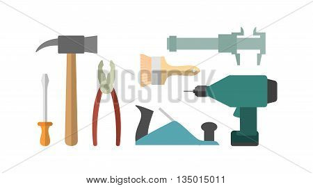 Carpentry tools. Screwdriver and drill. Hammer and caliper. pliers and screwdriver. Planer and brush.