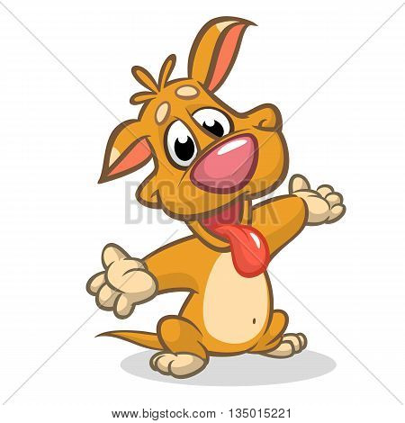 Vector illustration of cute puppy raising his hands. Cheerful dog pointing and presenting with his hands