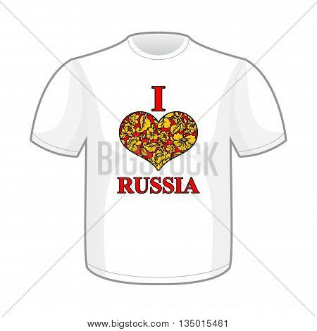 I love Russia. Symbol of hear traditional folk Khokhloma pattern. Russian National Patriotic emblem for T-shirt.