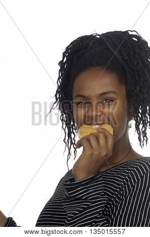 Teenager girl playing with a donut on white background