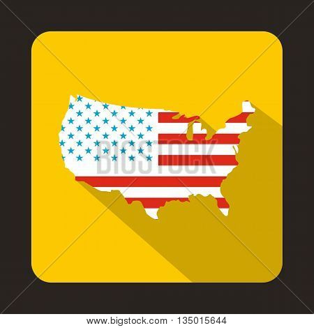 USA map icon in flat style with long shadow. State and territory symbol
