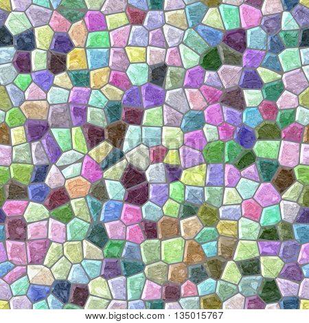 pastel full color seamless mosaic pattern texture background with gray grout