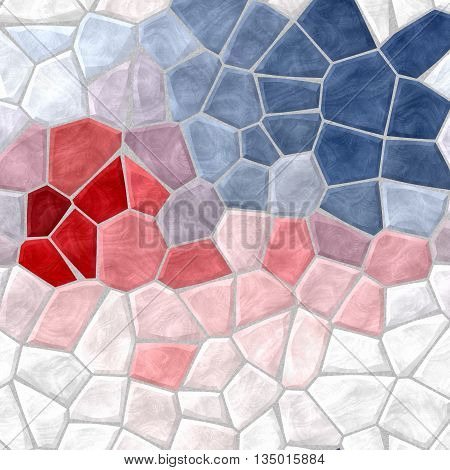 white blue red and pink mosaic pattern texture background with gray grout