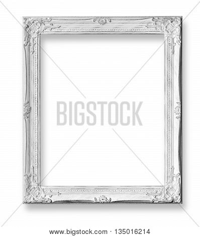White baroque frame isolated on white background with clipping path