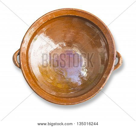 Orange speckled bowl isolated on white background with clipping path