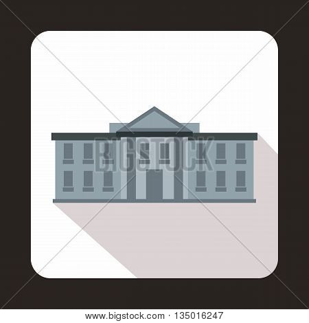 White house USA icon in flat style with long shadow. State symbol