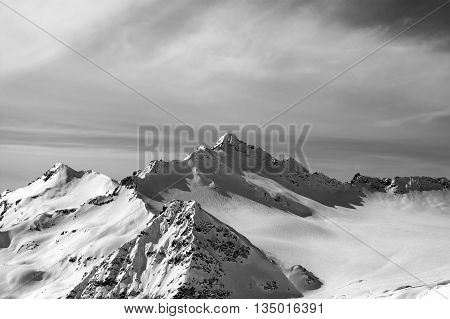 Black And White View From The Ski Slope