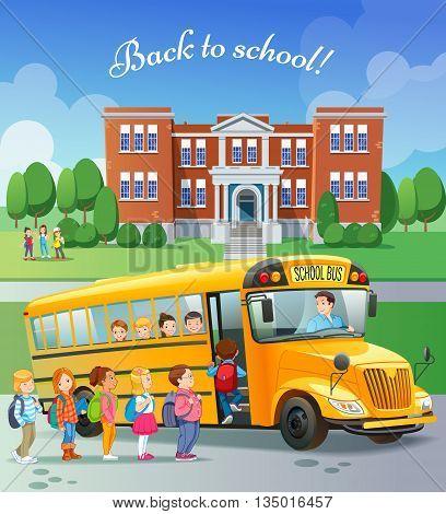 Children get on school bus.Transportation pupil or student transport and automobile. Vector illustration