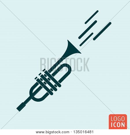 Trumpet icon isolated. Signal horn symbol. Vector illustration