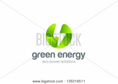 Green Eco Energy Flash Logo circle electricity Ecology Power