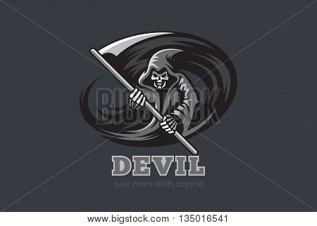 Halloween Death Devil Demon Horror Ghost Scythe Logo abstract