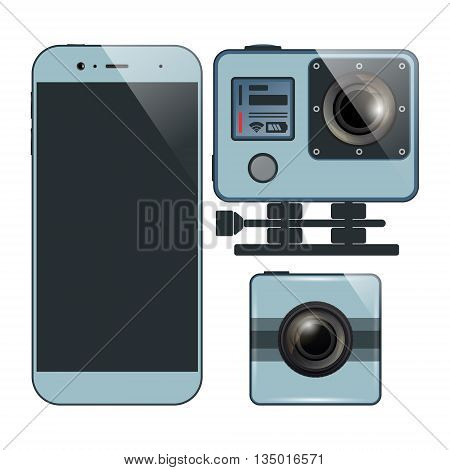 Set of smartphone and two action camera. Videography photography equipment. Vector illustration