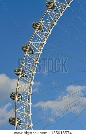 LONDON - OCTOBER 03: London Eye panoramic wheel close up on October 03, 2014 in London, UK. London Eye is the highest ferris wheel in Europe.