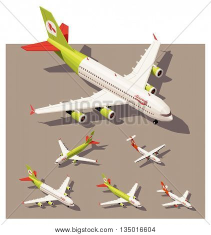 Vector Isometric icon set or infographic elements representing passenger airplanes. Different classes of jet airplanes and airplane with propeller engine in low poly style