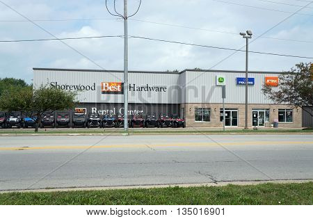 SHOREWOOD, ILLINOIS / UNITED STATES - AUGUST 30, 2015: Shorewood Home and Auto offers hardware and supplies in Shorewood.