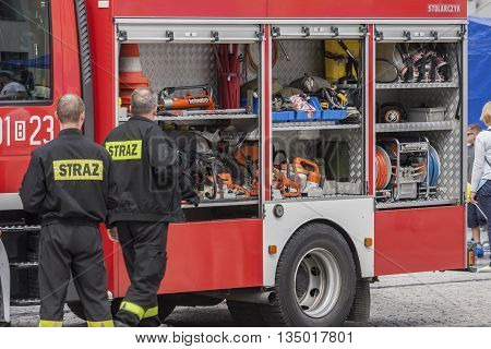 Bialystok Poland - July 12 2016 : Presentation of equipment combat vehicle firefighters