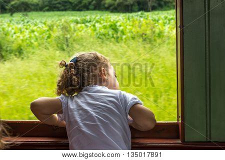 Baby Girl Enjoying Old May Smoke Train Ride
